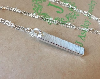 Sterling Silver Verticle Bar Necklace, Sterling Silver Necklace, Bar Necklace, Handmade Necklace
