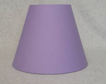 """Lavender lamp shade. Violet.  Solid color.  Shade is 9.5"""" wide at the bottom, 5"""" wide at the top and 7"""" tall"""