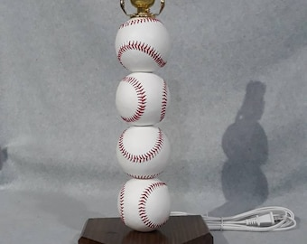 Baseball lamp. Made with real baseballs.  Can be personalized.  The Original and often imitated, never duplicated.