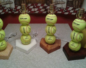 Softball Lamp. Can now be personalized with a name. Real softballs.  Yellow balls.  The original and often imitated, but never duplicated.
