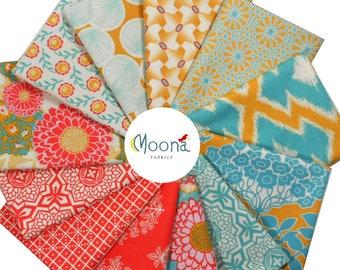 Joel Dewberry Fabric, HALF YARD Bundle, BOTANIQUE, Golden Hour, Quilt Fabric, Free Spirit Fabric, Woodland Fabric, Cotton Quilting Bundle