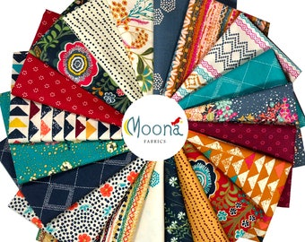 INDIE FOLK Fat Quarter Bundle, Art Gallery Fabrics, Pat Bravo, Complete Collection 20 FQs, Boho Fabric Bundle, Cotton Quilt Fabric, Quilting