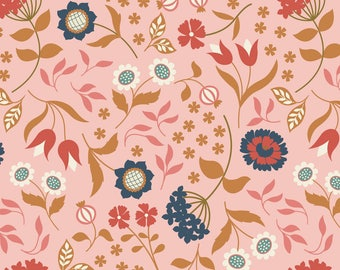 Country House Floral on Pink  A241.2 - CHIEVELEY - Lewis and Irene Fabric - By the Yard