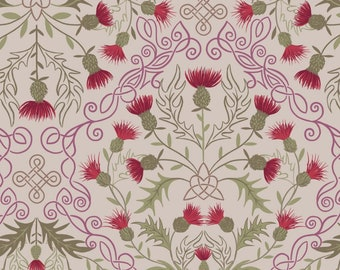 Lewis and Irene LOCH LEWIS Red Thistle on Natural A541.2, Quilt Fabric, Celtic Fabric, Quilting Fabric, Cotton Fabric, Fabric By The Yard