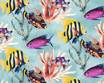 8cfe15a9b9 Coral Reef Light Blue 42666-1, Whistler Studios, Windham Fabrics, Angelfish,  Under the Sea, Tropical Fish, Nautical, Fabric By the Yard
