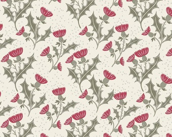 Red Thistle on Cream Silver Metallic A336-1, CELTIC REFLECTIONS, Lewis and Irene, Rustic Christmas, Quilt Fabric, Fabric By the Yard