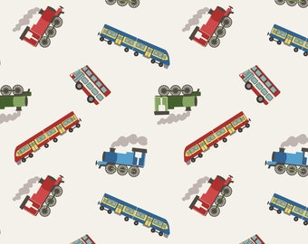 Trains on White  SM14.1 - SMALL THINGS on the Move - Lewis and Irene Fabric - By the Yard