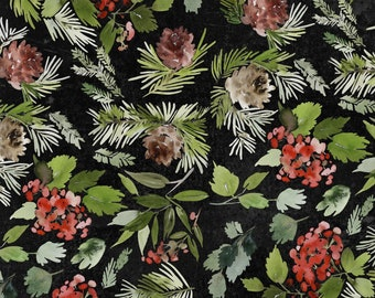 Tim Holtz CHRISTMASTIME Evergreen Floral Black PWTH162, Quilt Fabric, Cotton Fabric, Quilting Fabric, Christmas Fabric, Fabric By the Yard