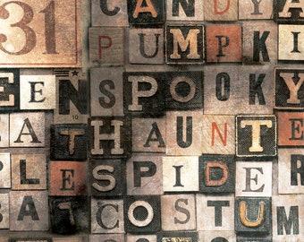 Tim Holtz REGIONS BEYOND Halloween Multi PWTH147 Free Spirit Fabric, Quilt Fabric, Cotton Fabric, Halloween Fabric, Fabric By The Yard