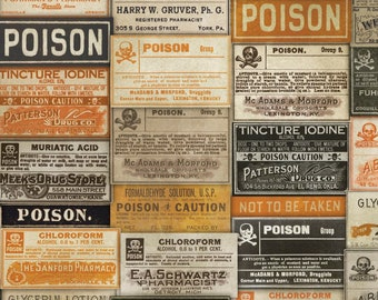 Tim Holtz REGIONS BEYOND Apothecary Multi PWTH072 Free Spirit Fabric, Quilt Fabric, Cotton Fabric, Halloween Fabric, Fabric By The Yard