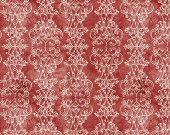 Tim Holtz CHRISTMASTIME Fanciful Red PWTH165, Quilt Fabric, Cotton Fabric, Quilting Fabric, Christmas Fabric, Fabric By the Yard