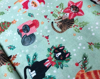 Not Ameowsed D1579 Dear Stella Fabric, Quilt Fabric, Cotton Fabric, Christmas Fabric, Cat Fabric, Quilting Fabric, Fabric By The Yard