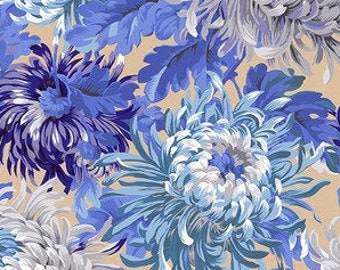 Kaffe SHAGGY NEUTRAL PWPJ072, Kaffe Fassett Fabric, Philip Jacobs, Quilt Fabric, Shabby Chic, Blue Floral Fabric, Mums, Fabric By The Yard