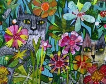 Alfie & Rufus 52295D-X by Este MacLeod, Windham Fabrics, Quilt Fabric, Cotton Fabric, Cat Fabric, Quilting Fabric, Fabric By The Yard