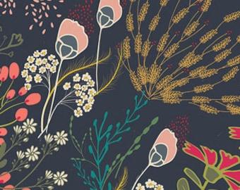 INDIE FOLK Meadow Dim, Art Gallery Fabrics, Pat Bravo, Woodland Fabric, Quilt Fabric, Cotton Fabric, Floral Boho Nursery, Fabric By the Yard