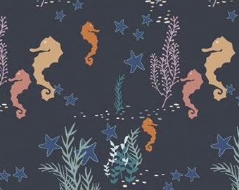 Art Gallery Fabrics ENCHANTED VOYAGE, Seahorse Magic Deep ENV-61782, Beach Decor, Nautical Decor, Quilt Fabric, Cotton, Fabric By The Yard