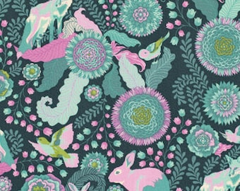 Tula Pink Foxtrot Fox Field Fabric, Woodland Nursery Fabric, Rabbit, Bunny, Woodland Creatures, Teal Cotton Quilt Fabric, Fabric By the Yard