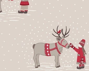 Lewis & Irene Fabric, Meeting Santas Reindeer on Natural  C7-2, MAKE A Christmas Wish, Quilt Fabric, Cotton Fabric, Fabric By The Yard