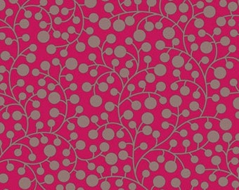 MOD VINES in Raspberry MO-3810 Modernology by Patricia Bravo, Art Gallery Fabric, Quilt Fabric, Red Fabric, Quilting, Fabric By The Yard