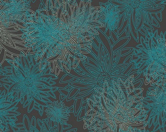 Floral Elements DEEP OCEAN FE-505, Art Gallery Fabrics, Blender Fabric, Quilt Fabric, Teal Fabric, Cotton Fabric, Fabric By The Yard