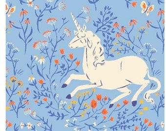 Heather Ross 20th Anniversary UNICORN in Blue 39657A-4, Quilt Fabric, Windham Fabrics, Cotton Fabric, Quilting Fabric, Fabric By The Yard