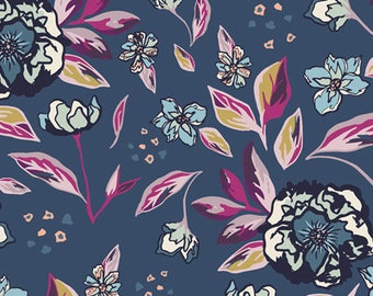 Enchanted Flora Ablue MSL-23960, Maureen Cracknell, MYSTICAL LAND, Art Gallery Fabrics, Shabby Chic, Quilt, Cotton, Fabric By the Yard