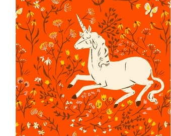 Heather Ross 20th Anniversary UNICORN in Orange 39657A-7, Quilt Fabric, Windham Fabrics, Cotton Fabric, Quilting Fabric, Fabric By The Yard