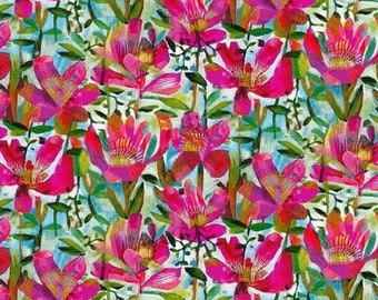 Summer Roses Fuchsia 52296D-1 RUFUS by Este MacLeod, Windham Fabrics, Quilt Fabric, Cotton Fabric, Quilting Fabric, Fabric By The Yard
