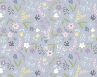 Swallows and Blooms on Dusky Lavender  A207.2 - SALISBURY SPRING - Lewis and Irene Fabric - By the Yard