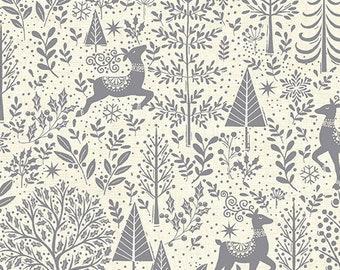 Scandi Makower UK 2020, Scenic in Silver TP-2216, Quilt Fabric, Christmas Fabric, Swedish Christmas, Scandinavian Fabric, Fabric By The Yard