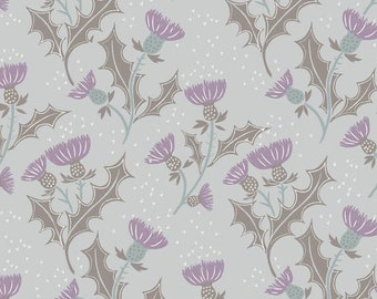 Thistle Flower Light Grey A89-1, THE GLEN Lewis and Irene, Cotton Fabric, Quilt Fabric, Celtic Fabric, Quilting Fabric, Fabric By The Yard