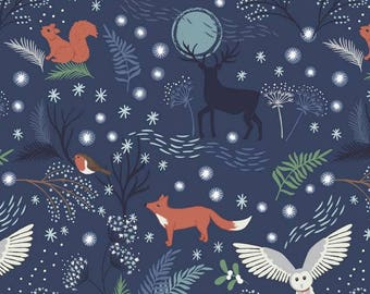 Winter Animals in Midnight - C17.2  - COUNTRYSIDE WINTER - Lewis and Irene Christmas Fabric - By the Yard