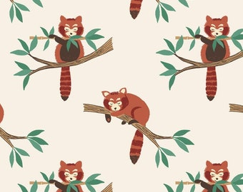 Lewis and Irene Fabric, Red Panda on Natural A118-1 MINSHAN, Quilt Fabric, Cotton Fabric, Asian Fabric, Quilting, Fabric By The Yard