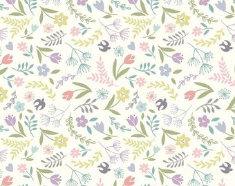 Swallows and Blooms on White  A207.1 - SALISBURY SPRING - Lewis and Irene Fabric - By the Yard