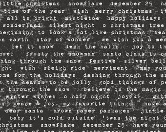 TIDINGS TYPE BLACK, Tim Holtz Yuletide, Tim Holtz Eclectic Elements, Tim Holtz Fabric, Cotton Fabric, Quilt Fabric, Fabric By The Yard
