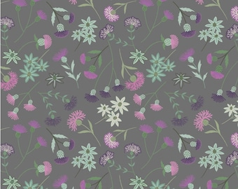 Thistle Floral on Grey - A239.3 - CELTIC BLESSINGS - Lewis and Irene Fabric - By the Yard