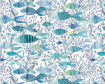 Here Fishy Fish in Blue - MERMAID DAYS - by Cori Dantini for Blend Fabrics - By the Yard