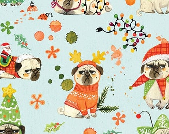 Dear Stella BAH HUM PUG DMB1667, Quilt Fabric, Cotton Fabric, Pug Dog Fabric, Christmas Fabric, Quilting Fabric, Fabric By The Yard