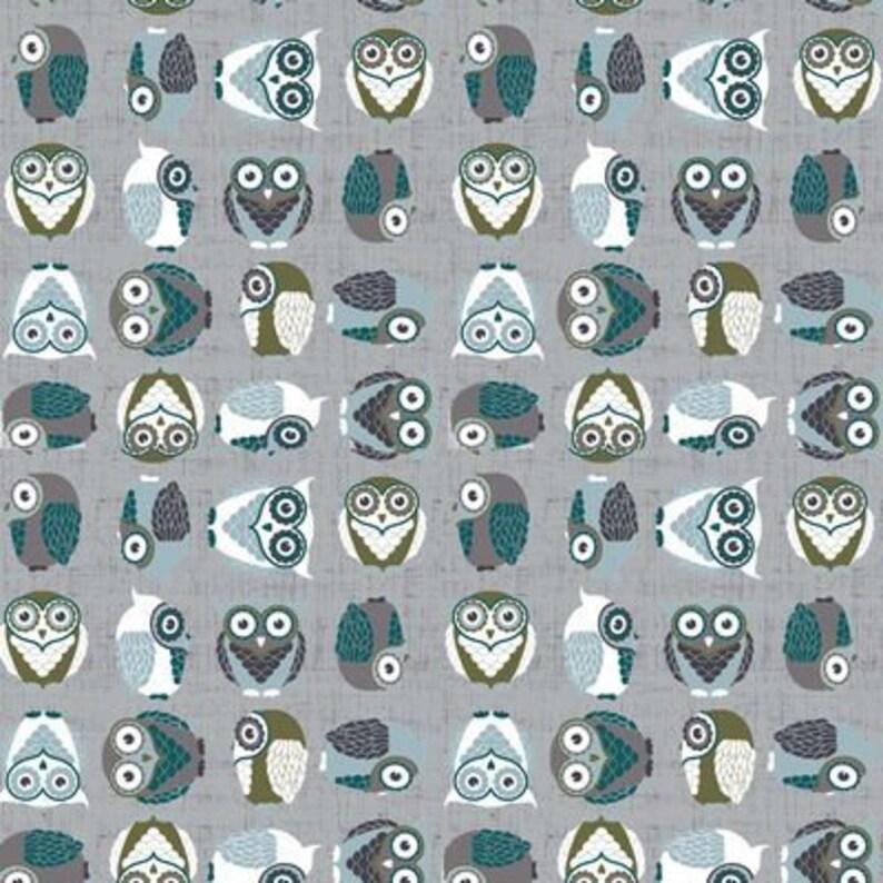 Owl Fabric Grey HUSH A BYE WOODS Stof Denmark Fabric image 0