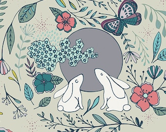 Moon Stories in Ash  NTF-67903, NIGHTFALL, Maureen Cracknell, Art Gallery Fabrics, Quilt Fabric, Cotton Fabric, Woodland Fabric By The Yard