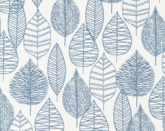 Last Piece - LINE LEAF in BLUE - Bark and Branch - Organic Cotton by Cloud 9 Fabric - 5/6 Yard