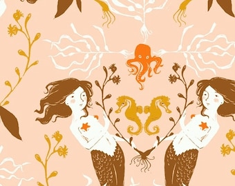 Heather Ross 20th Anniversary MERMAIDS in Peach 40944A-3, Quilt Fabric, Windham Fabrics, Cotton Fabric, Quilting Fabric, Fabric By The Yard