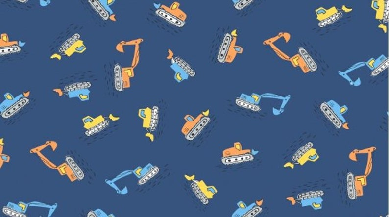 Quilting Boy Quilt Fabric Construction Vehicles Trucks Fabric By the Yard DIGGERS in Snorkel 1145 Dear Stella Design Cotton Fabric