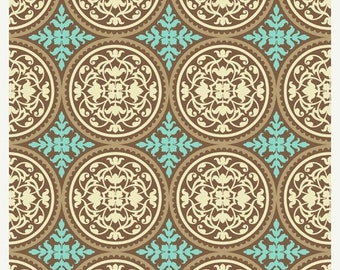 40% OFF SALE - Joel Dewberry - AVIARY 2 - Scrollwork in Caramel  Jd44 - Free Spirit Fabric - 1 Yard