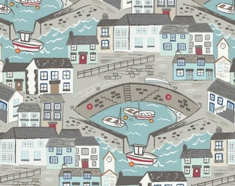 Lewis and Irene Fabric, Seaside in Blue A175.1 HARBOUR SIDE, Quilt Fabric, Cotton Fabric, Nautical Fabric, Quilting, Fabric By The Yard