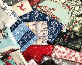 CHRISTMAS Fabric Scraps, Quilting Scrap Bundle, Bolt ends, Remnants, Scrappy Quilt, Holiday Fabric Scraps, 1 Pound, 3 Yards By Weight