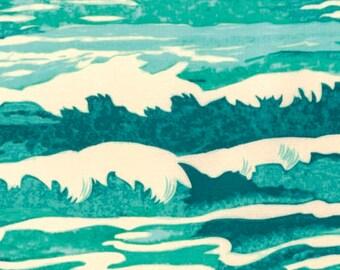 Oceanus in Aqua NEPTUNE and the MERMAID by Tokyo Milk for Free Spirit Fabric, Quilt Fabric, Cotton Fabric, Quilting, Fat Quarter