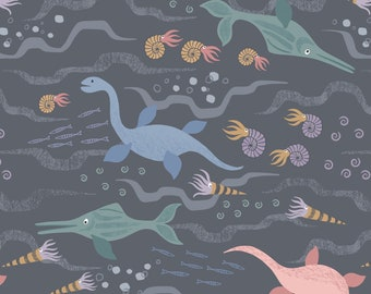 Jurassic Sea on Charcoal  A301-3, KIMMERIDGE BAY, Lewis and Irene, Quilting, Nautical, Dinosaur, Prehistoric, Kids Quilt, Fabric By the Yard