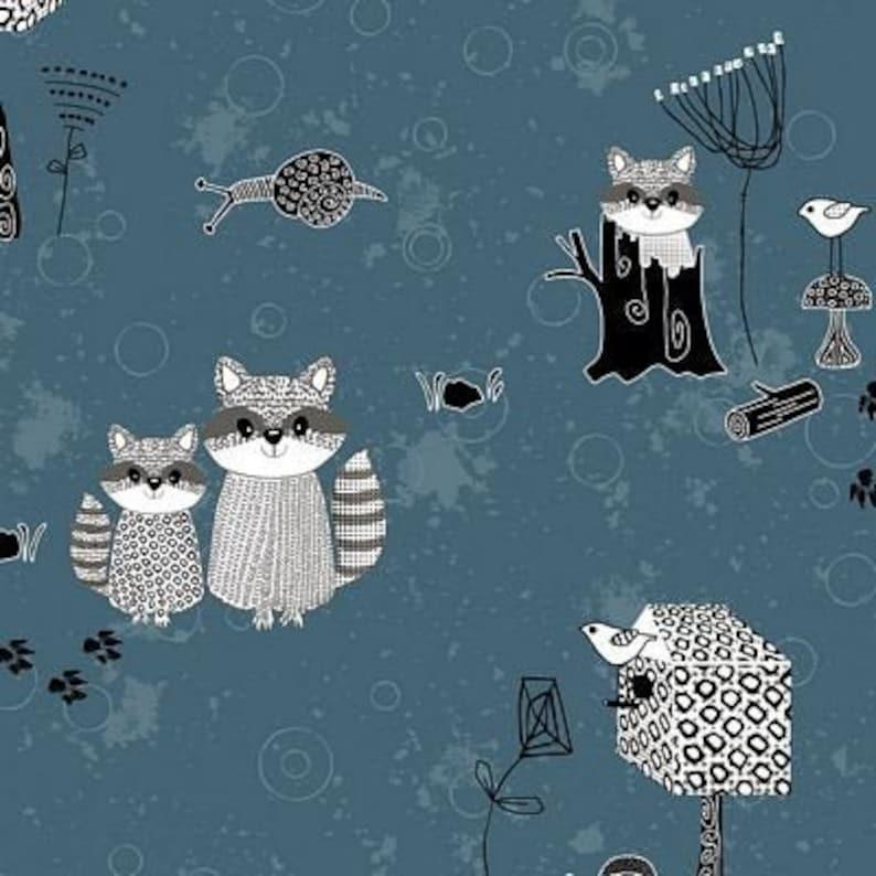 Stof Denmark Rocky Raccoon 4500-912 Dark Blue Raccoon image 0