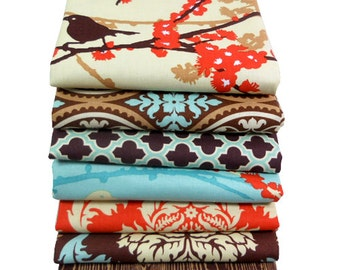 HALF YARD Bundle - Aviary 2 by Joel Dewberry - Free Spirit Fabric - Saffron Palette - 7 pcs